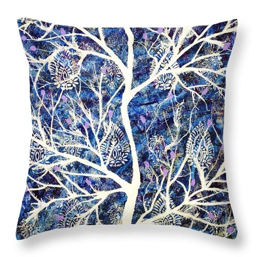 Throw Pillow featuring the painting Himvriksh by Sumit Mehndiratta