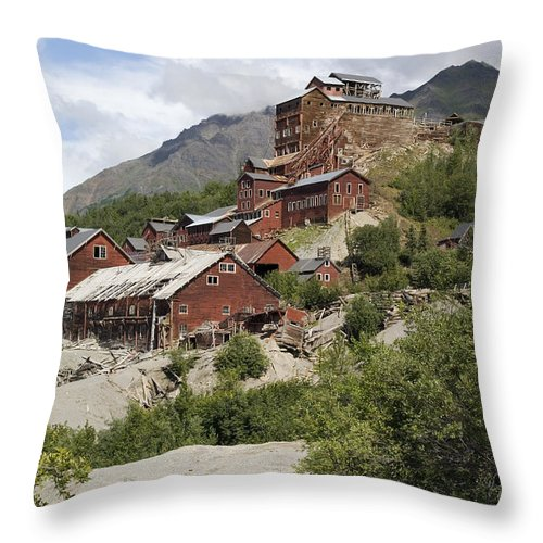 Historic Landmarks Throw Pillow featuring the photograph Historic Kennicott Mill Buildings by Rich Reid
