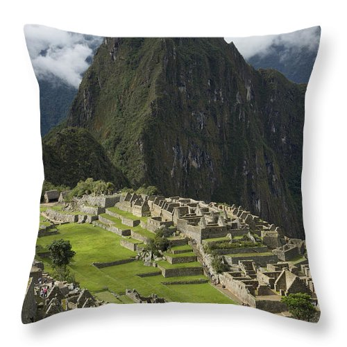 Clouds Throw Pillow featuring the photograph Historic Machu Picchu Peru by Keith Levit