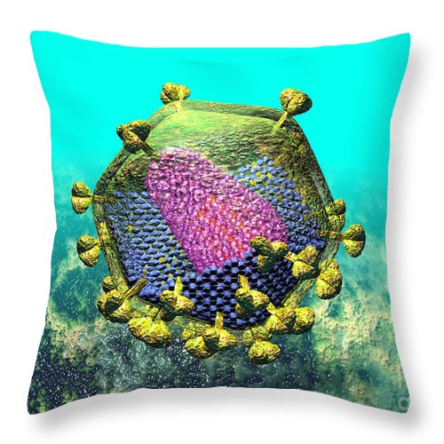Acquired Throw Pillow featuring the digital art Hiv Virion Translucent On Blue by Russell Kightley