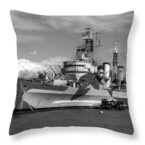 Hms Belfast Throw Pillow featuring the photograph Hms Belfast And City Skyline by Chris Day