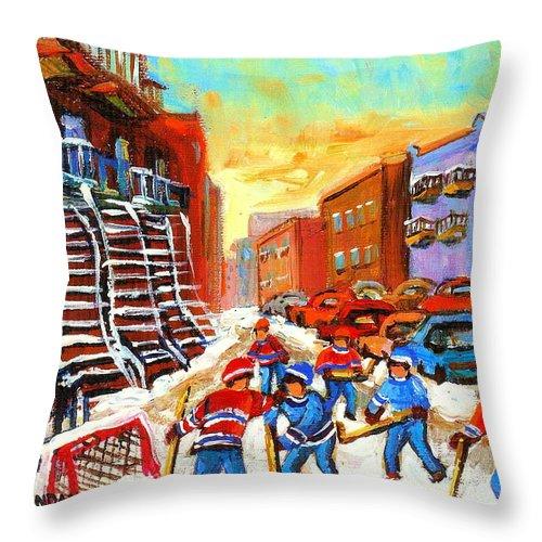 Hockey Art Throw Pillow featuring the painting Hockey Art Kids Playing Street Hockey Montreal City Scene by Carole Spandau