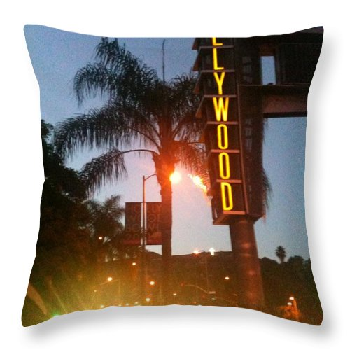 Hollywood Throw Pillow featuring the photograph Hollywood by Caroline Lomeli