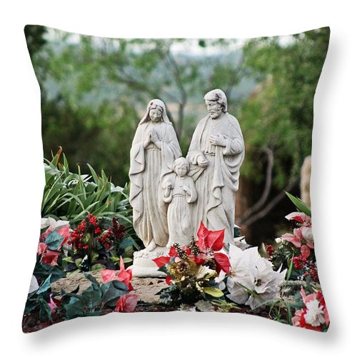 Jesus Throw Pillow featuring the photograph Holy Family In The Garden by Monica Wheelus