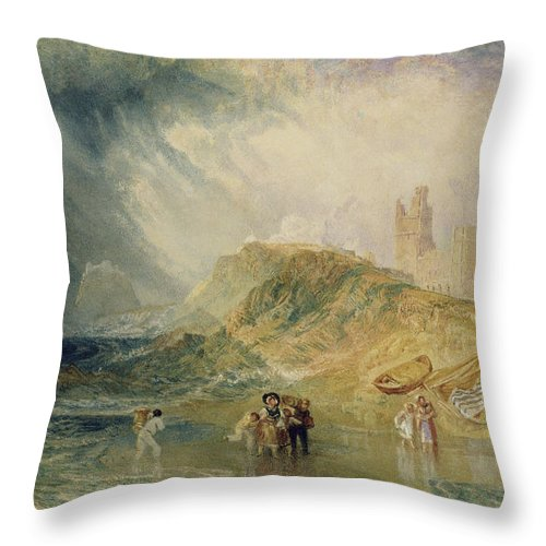 Sea; Coast; Coastal; Crossing; Inlet; Fishing; Boats; Beach; Landing; Boat; Disembarking; Shore Throw Pillow featuring the painting Holy Island - Northumberland by Joseph Mallord William Turner