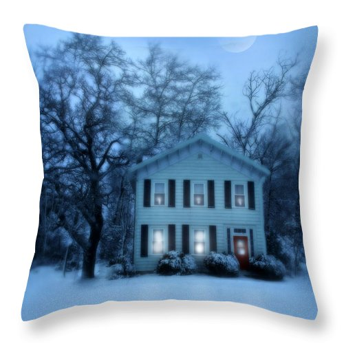 Home Throw Pillow featuring the photograph Home On A Wintery Evening by Jill Battaglia