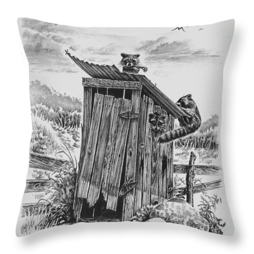 Western Throw Pillow featuring the drawing Home Sweet Home by Virgil Stephens