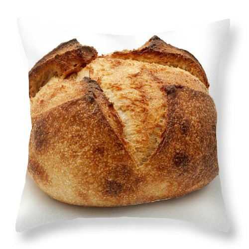 White Background Throw Pillow featuring the photograph Homemade Bread by Fabrizio Troiani