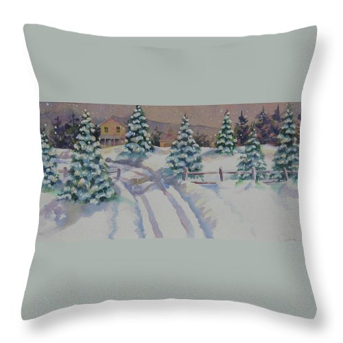 Winter Throw Pillow featuring the painting Homestead by Amy Householder