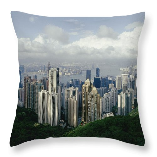 Asia Throw Pillow featuring the photograph Hong Kong Island And The Bay by Jason Edwards