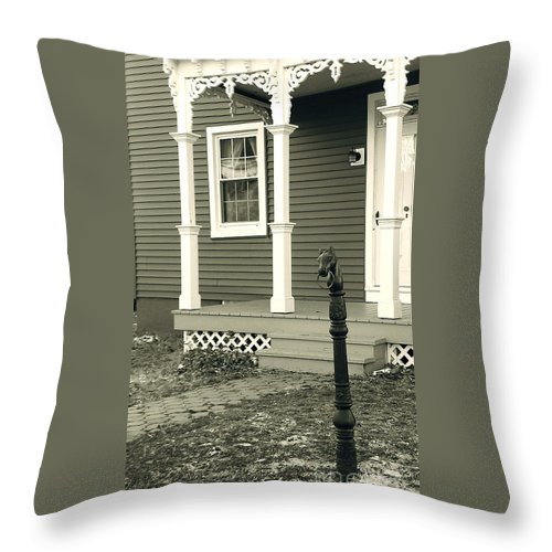 Horse Hitching Post Throw Pillow featuring the photograph Horse Hitching Post by Nancy Patterson