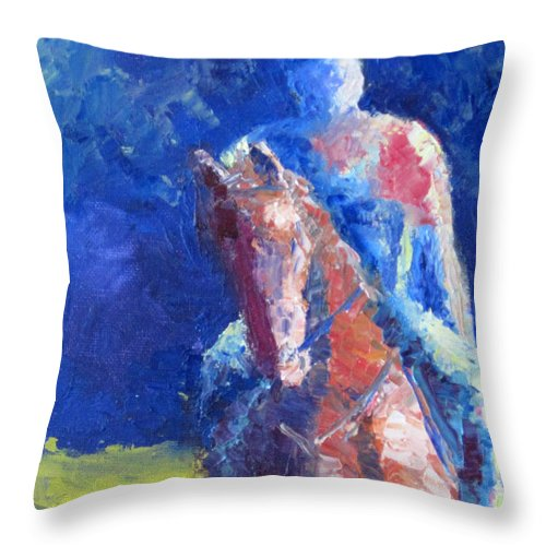 Horse Rider Throw Pillow featuring the painting Horse Rider by Terry Chacon