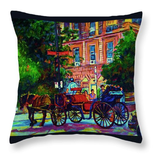 Rue Notre Dame Throw Pillow featuring the painting Horsedrawn Carriage by Carole Spandau