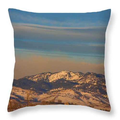 Horses Throw Pillow featuring the photograph Horses And Moon by James BO Insogna