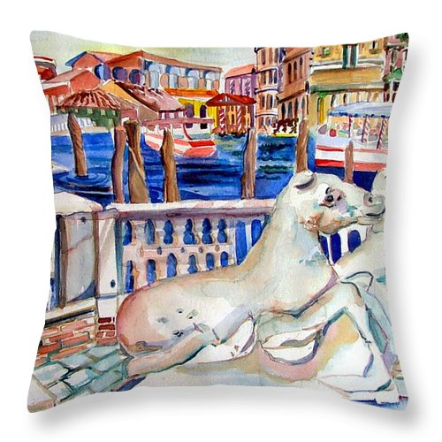 Horses Throw Pillow featuring the painting Horses On The Grand Canal Of Venice by Mindy Newman