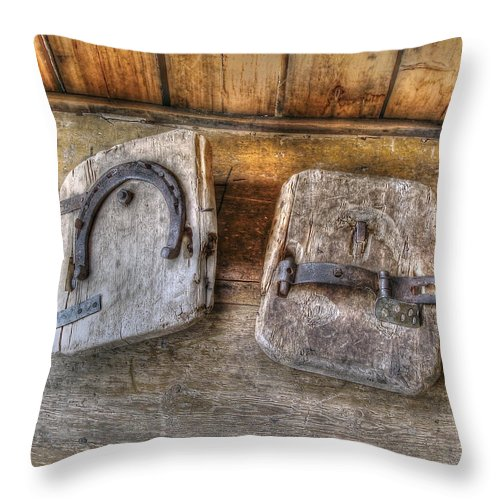 Horseshoe Throw Pillow featuring the photograph Horseshoe Art by Merja Waters