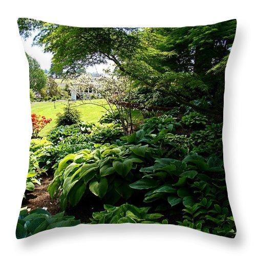 Hosta Throw Pillow featuring the photograph Hosta Garden by Nick Kloepping