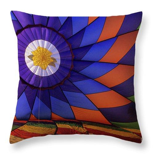 Interior Of Balloon Throw Pillow featuring the photograph Hot Air Balloon 13 by Bob Christopher