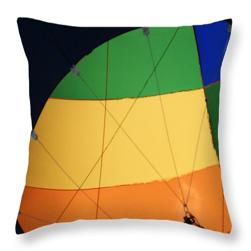 Balloons Throw Pillow featuring the photograph Hot Air Balloon Rigging by Ernie Echols