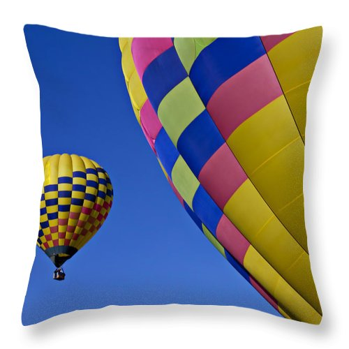 Hot Air Balloons Throw Pillow featuring the photograph Hot Air Balloons by Garry Gay