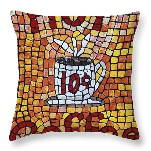 Coffee Throw Pillow featuring the painting Hot Coffee 10cents by Cynthia Amaral