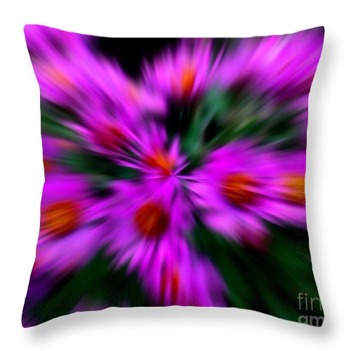 Abstract Throw Pillow featuring the digital art Hot Pink And Green by Smilin Eyes Treasures