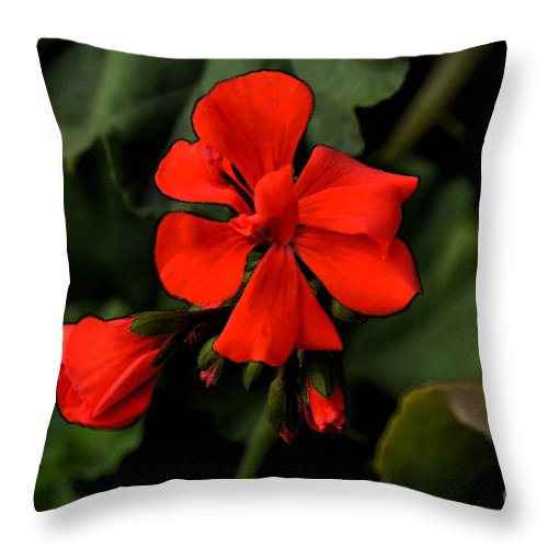 Flower Throw Pillow featuring the digital art Hot Red by Pravine Chester