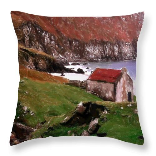 Oil Pastel Ireland Beauty Country Countryside Painting Landscape Cottage Old House Coast Romance Water Green Grass Mountain Expressionism Impressionism Cliff Cliffs Throw Pillow featuring the pastel House At The Coast by Steve K