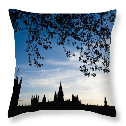 Bankside Throw Pillow featuring the photograph Houses Of Parliament Silhouette by Axiom Photographic