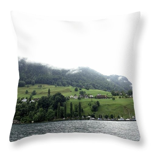 Action Throw Pillow featuring the photograph Houses On The Greenery Of The Slope Of A Mountain Next To Lake Lucerne by Ashish Agarwal
