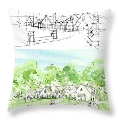 House Rendering Throw Pillow featuring the painting Housework by Lizi Beard-Ward