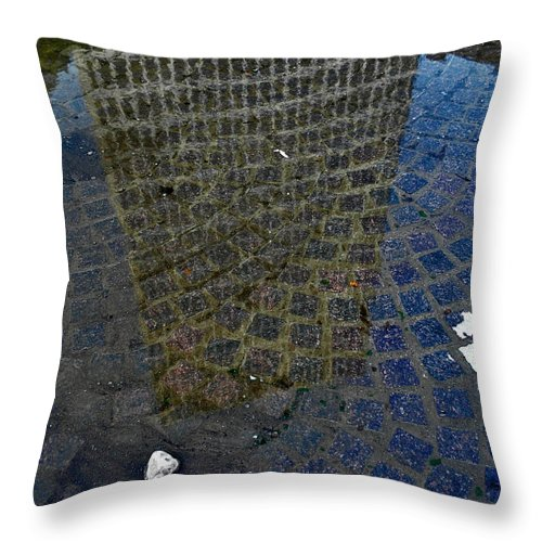 Rochester Throw Pillow featuring the photograph Hsbc Plaza Reflection by Kristen Cavanaugh