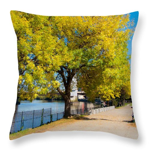 Hudson Throw Pillow featuring the photograph Hudson Riverside Autumn Scenery In Troy New York by Jiayin Ma