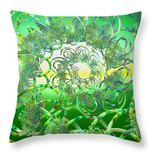 Fractal Throw Pillow featuring the digital art Hula by Betsy Knapp