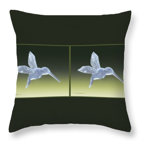 3d Throw Pillow featuring the photograph Hummingbird - Gently Cross Your Eyes And Focus On The Middle Image by Brian Wallace