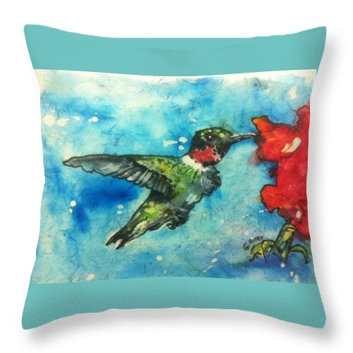 Nature Throw Pillow featuring the painting Hummingbird Sips by Gloria Avner