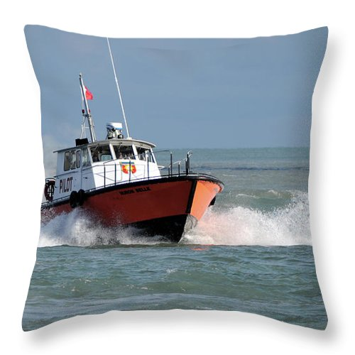 Boat Throw Pillow featuring the photograph Huron Belle Pilot Boat by Ronald Grogan