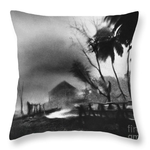 Weather Throw Pillow featuring the photograph Hurricane In The Caribbean by Fritz Henle and Photo Researchers