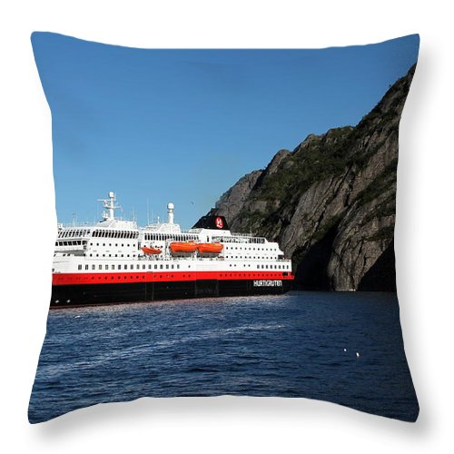 Hurtigruten Throw Pillow featuring the photograph Hurtigruten Ship In Troll Fjord by Laurel Talabere