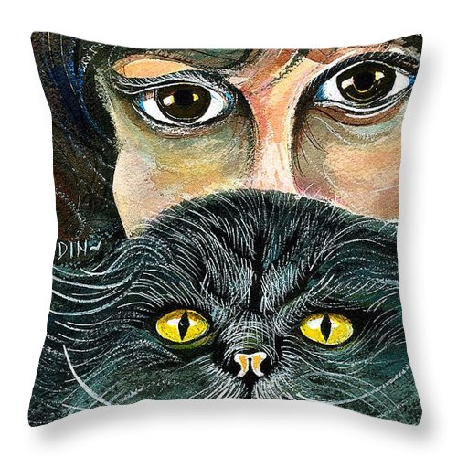 Art Throw Pillow featuring the painting Hypnotic Cat Eyes by Ion vincent DAnu