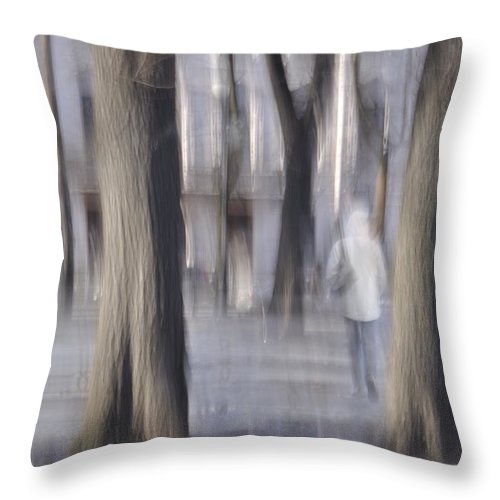 Girl Throw Pillow featuring the photograph Girl Walking In The Park by  larisa Fedotova