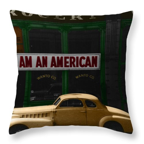 Vintage Chevy Throw Pillow featuring the photograph I Am An American by Andrew Fare