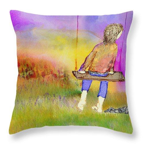 Child; Swing; Heron; Bird; Sky; Color; Books; Flowers; Sorrow; Loss; Grief; Grasses; Grass; Japanese; Characters; Book Throw Pillow featuring the mixed media I Am Leaving by Cynthia Richards