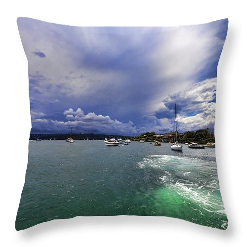 Watson Bay Throw Pillow featuring the photograph I Am Sailing by Douglas Barnard
