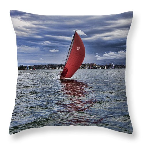 Sydney Harbor Throw Pillow featuring the photograph I Am Sailing V2 by Douglas Barnard
