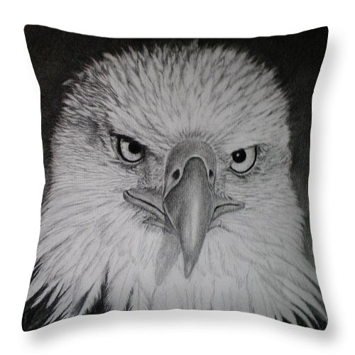 Eagle Throw Pillow featuring the drawing I Am Watching You by Paula Ludovino