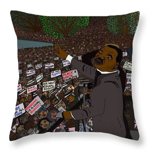 Martin Luther King Throw Pillow featuring the digital art I Have A Dream by Karen Elzinga