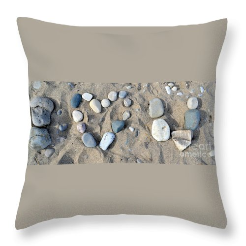 Pebble Art Throw Pillow featuring the photograph I Loveu Pebbles by Dyana Rzentkowski
