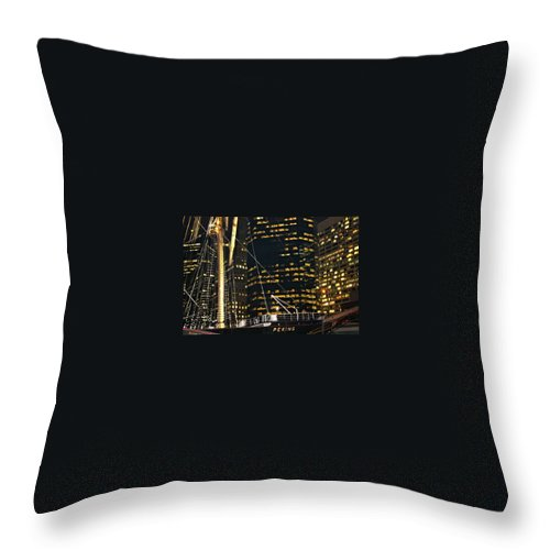 Ship Throw Pillow featuring the photograph I See The Lights by Terry Wallace