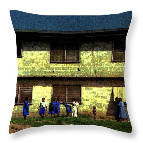 School Children Throw Pillow featuring the photograph Ibadan School Children by Wayne King
